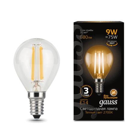 Филаментная светодиодная лампа Gauss 105801109 шар E14 9W, 2700K (теплый) CRI>90 150-265V, гарантия 3 года