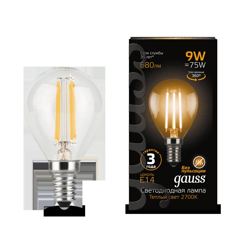 Филаментная светодиодная лампа Gauss 105801109 шар E14 9W, 2700K (теплый) CRI>90 150-265V, гарантия 3 года - фото 1