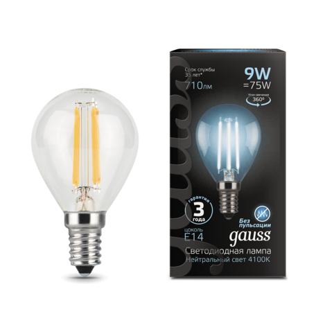 Филаментная светодиодная лампа Gauss 105801209 шар E14 9W, 4100K (холодный) CRI>90 150-265V, гарантия 3 года