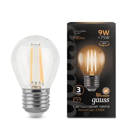 Филаментная светодиодная лампа Gauss 105802109 шар E27 9W, 2700K (теплый) CRI>90 150-265V, гарантия 3 года