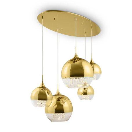 Светильник Maytoni Fermi P140-PL-170-5-G, 5xE27x60W, золото, золото с прозрачным, прозрачный, металл, стекло