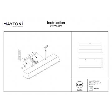 Настенный светильник Maytoni Toni C177WL-L8W, белый, металл, пластик