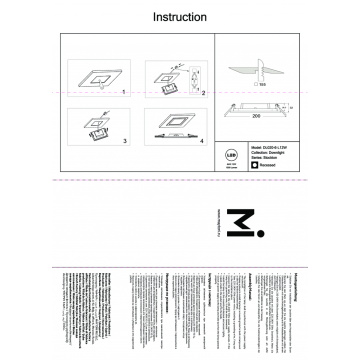 Встраиваемая светодиодная панель Maytoni Stockton DL020-6-L12W, IP44, белый, пластик