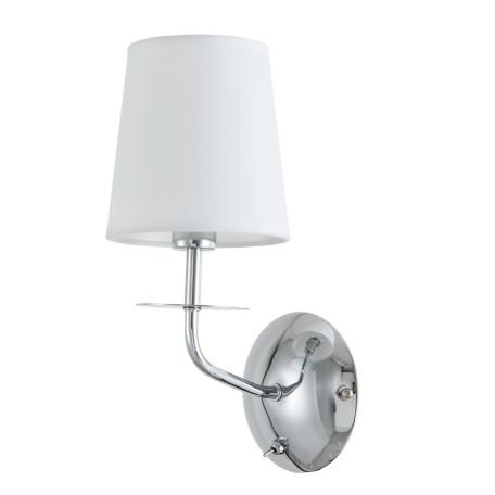 Бра Arte Lamp Edda A1048AP-1CC, 1xE14x40W, хром, белый, металл, текстиль