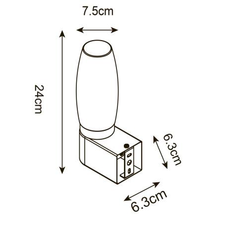 Схема с размерами Arte Lamp A1209AP-1WH