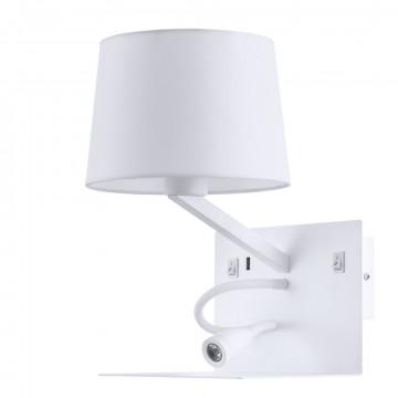 Бра с дополнительной подсветкой с полкой Arte Lamp Ibis A1056AP-2WH, 1xE27x40W + LED 3W 3000K 300lm CRI≥80, белый, металл, текстиль