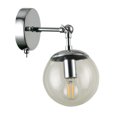 Настенный светильник с регулировкой направления света Arte Lamp Bolla A1664AP-1CC, 1xE14x60W, хром, прозрачный, металл, стекло