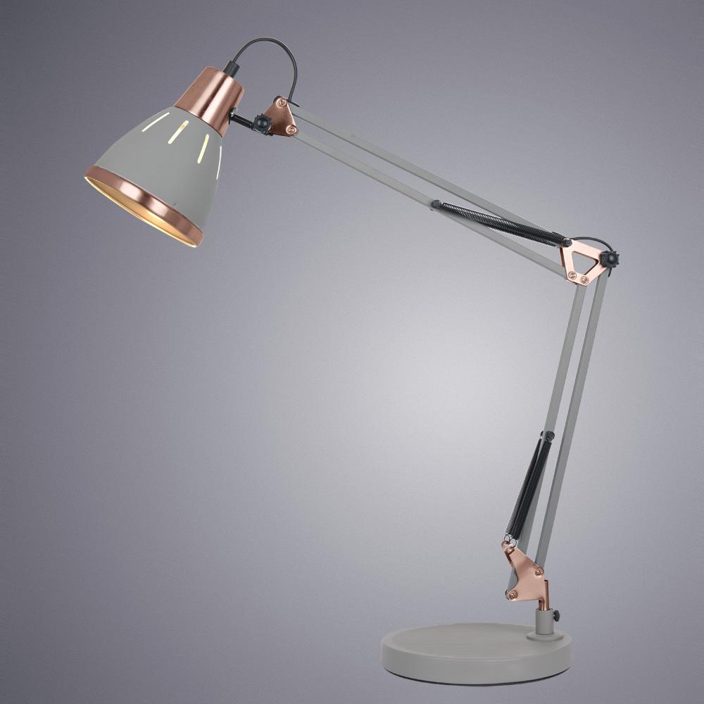 Настольная лампа Arte Lamp Pixar A2246LT-1GY, 1xE27x40W, серый, металл - фото 2