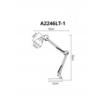 Схема с размерами Arte Lamp A2246LT-1GY