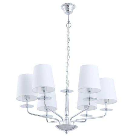 Подвесная люстра Arte Lamp Edda A1048LM-6CC, 6xE14x40W, хром, белый, металл, текстиль