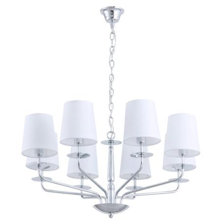 Подвесная люстра Arte Lamp Edda A1048LM-8CC, 8xE14x40W, хром, белый, металл, текстиль