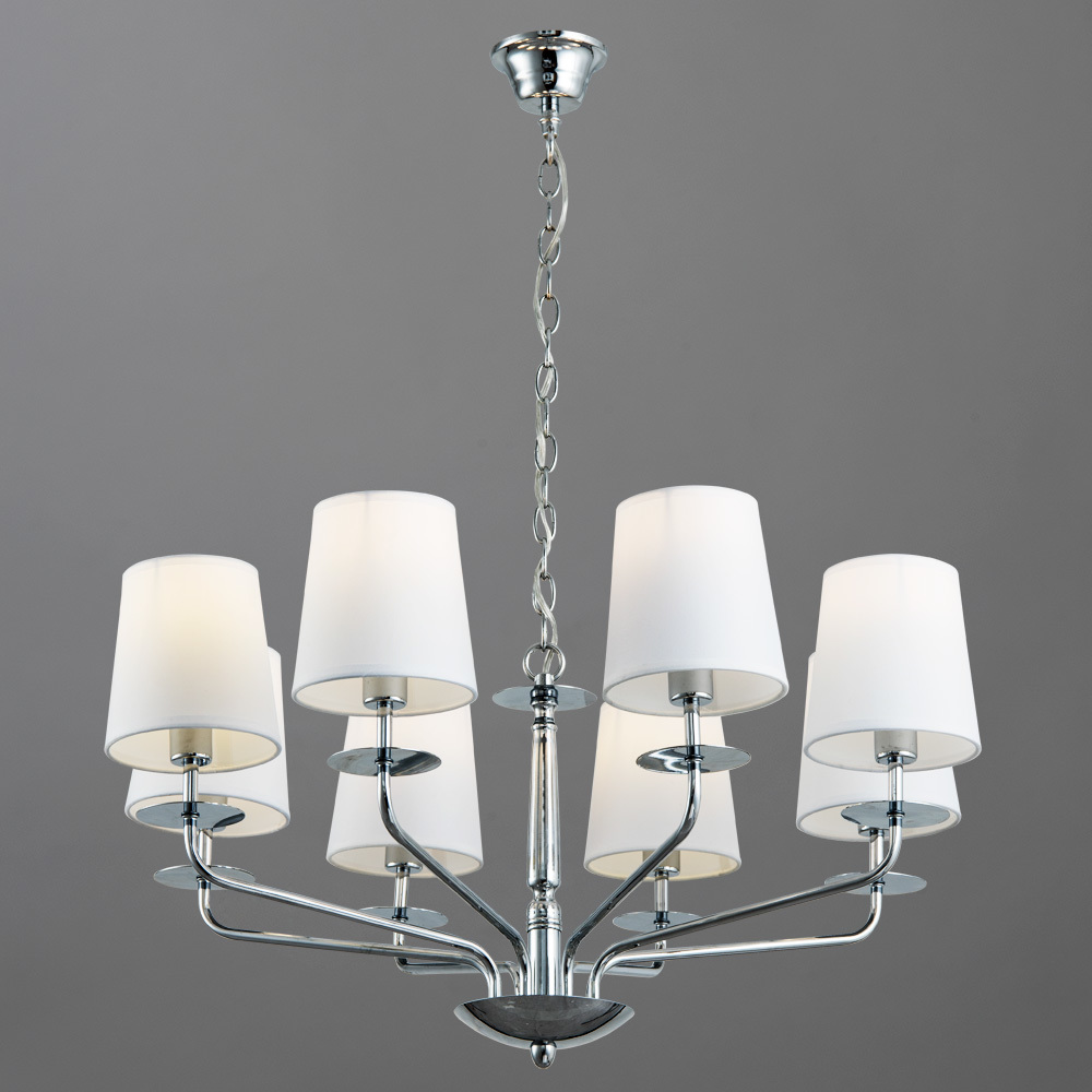 Подвесная люстра Arte Lamp Edda A1048LM-8CC, 8xE14x40W, хром, белый, металл, текстиль - фото 2