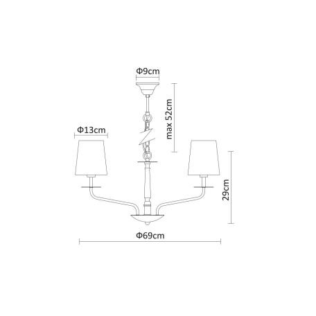 Схема с размерами Arte Lamp A1048LM-8CC
