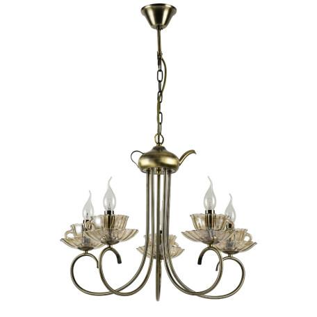 Подвесная люстра Arte Lamp Tet-A-Tet A1750LM-5AB, 5xE14x60W + LED 3W 3000K 210lm CRI≥70, бронза, янтарь, металл со стеклом