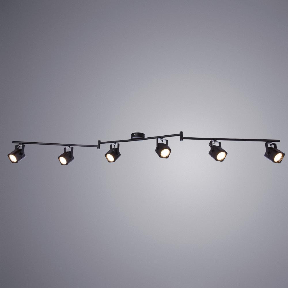Потолочный светильник с регулировкой направления света Arte Lamp Lente A1314PL-6BK, 6xGU10x50W, черный, металл - фото 1