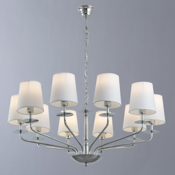 Подвесная люстра Arte Lamp Edda A1048LM-10CC, 10xE14x40W, хром, белый, металл, текстиль
