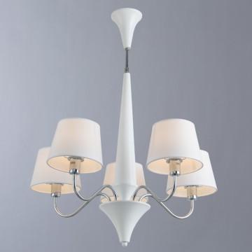 Потолочная люстра Arte Lamp Gracia A1528LM-5WH, 5xE14x40W, белый, хром, металл, текстиль