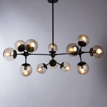 Подвесная люстра Arte Lamp Bolla A1664SP-12BK, 12xE14x60W, черный, янтарь, металл, стекло