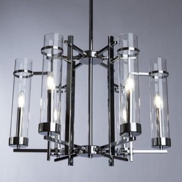 Подвесная люстра Arte Lamp Hugo A1688LM-6CC, 6xE14x60W, хром, прозрачный, металл, стекло