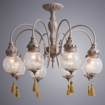 Потолочная люстра Arte Lamp Sultan A2146PL-8GA, 8xE27x40W, матовое золото, прозрачный, золото, металл, стекло, текстиль