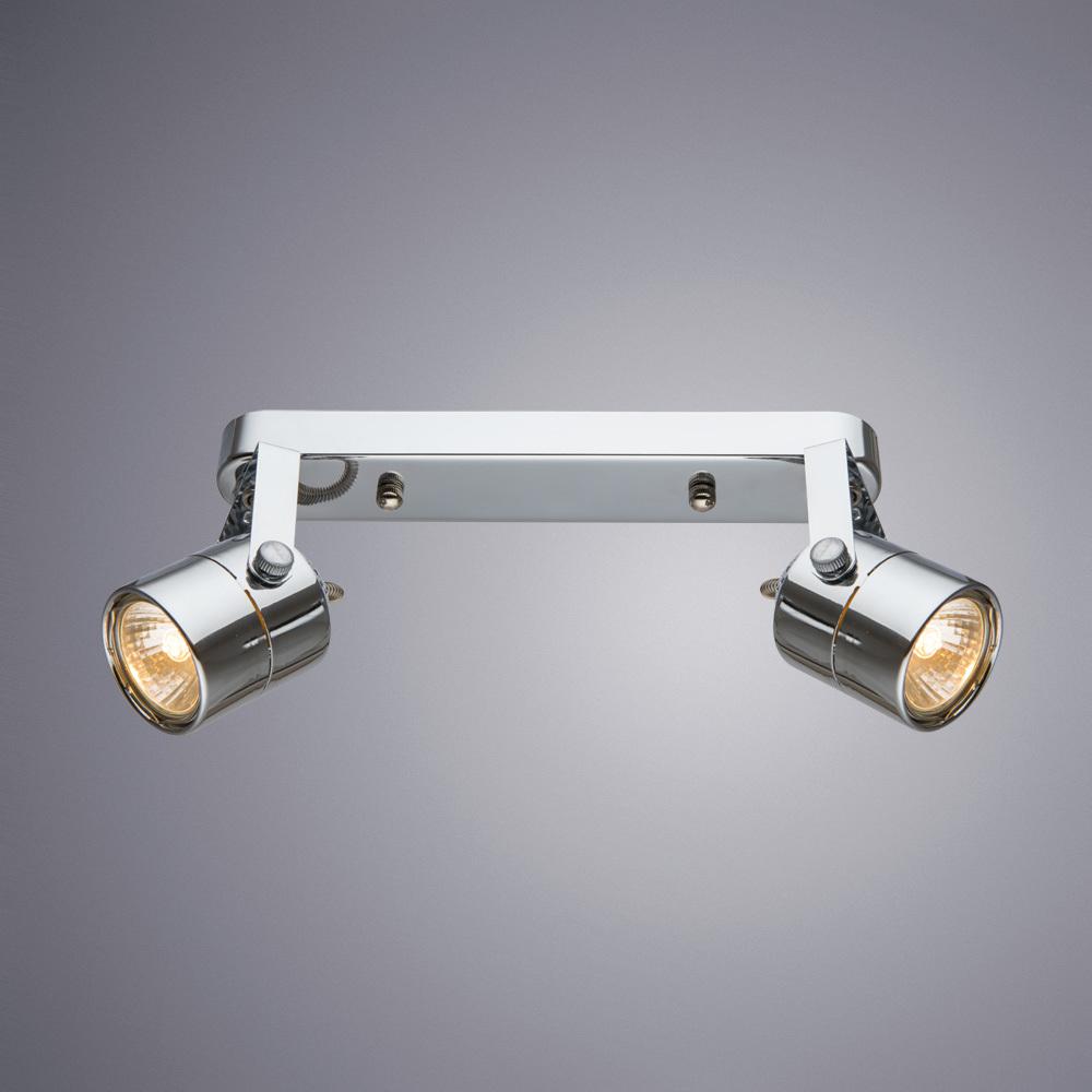Потолочный светильник с регулировкой направления света Arte Lamp Lente A1310PL-2CC, 2xGU10x50W, хром, металл - фото 1