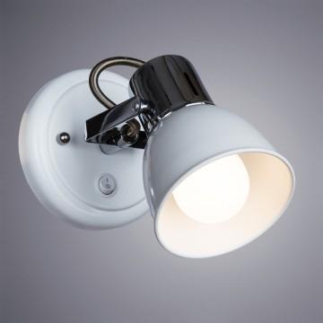 Настенный светильник с регулировкой направления света Arte Lamp Jovi A1677AP-1WH, 1xE14x40W, белый, хром, металл