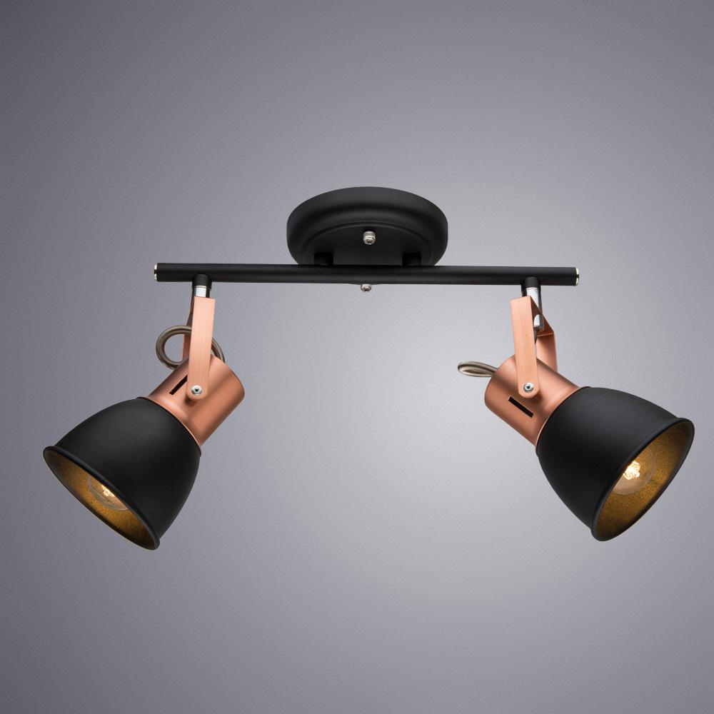 Потолочный светильник с регулировкой направления света Arte Lamp Jovi A1677PL-2BK, 2xE14x40W, черный, медь, металл - фото 1