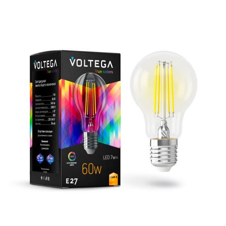 Филаментная светодиодная лампа Voltega VG10-A60E27warm7W-FHR 7154 груша E27 7W, 2800K (теплый) 220-240V, гарантия 3 года