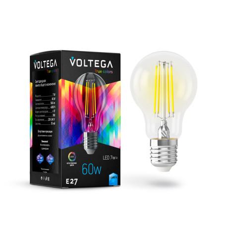 Филаментная светодиодная лампа Voltega VG10-A60E27cold7W-FHR 7155 груша E27 7W, 4000K 220-240V, гарантия 3 года
