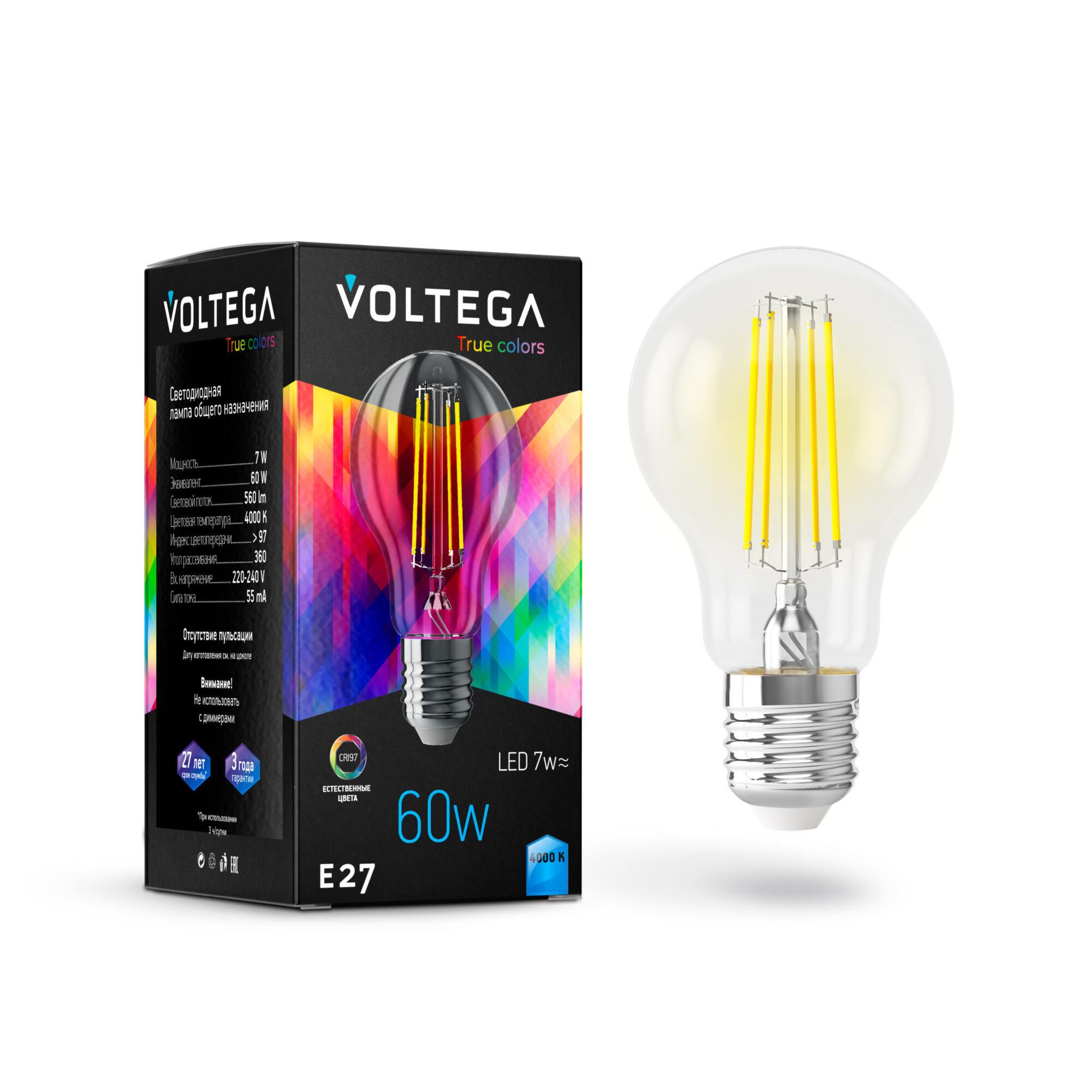 Филаментная светодиодная лампа Voltega VG10-A60E27cold7W-FHR 7155 груша E27 7W, 4000K 220-240V, гарантия 3 года - фото 2