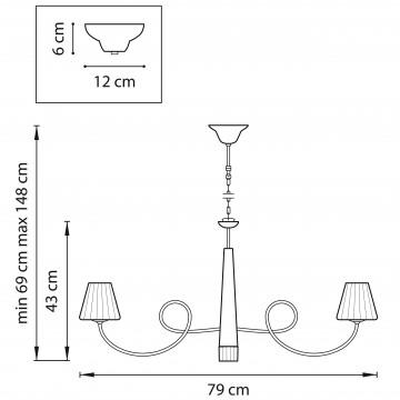 Схема с размерами Lightstar 814274