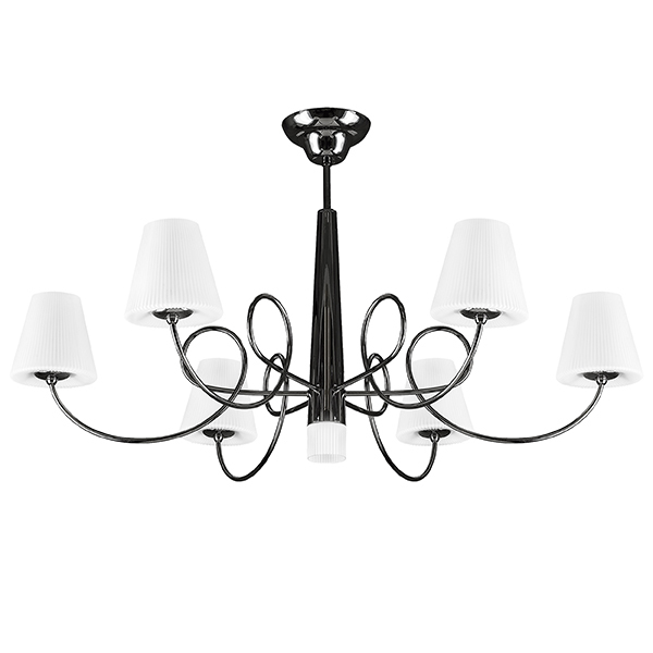 Потолочная люстра Lightstar Vortico 814077, 6xG9x40W + 1xG9x25W, черный, белый, металл, стекло - фото 1