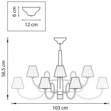 Схема с размерами Lightstar 814134