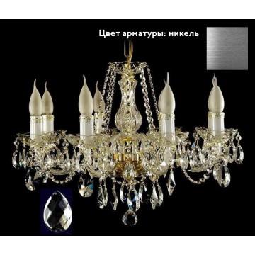 Подвесная люстра Aldit NISA 8 люстра NIАA505 (59x43cm/6kg), 8xE14x40W, белый, никель, прозрачный, стекло