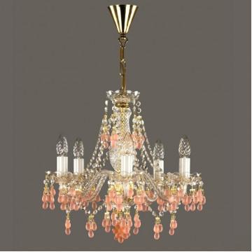 Подвесная люстра Artglass ROSANA VI. VINO ROZALIN, 6xE14x40W, белый, золото, прозрачный, розовый, стекло