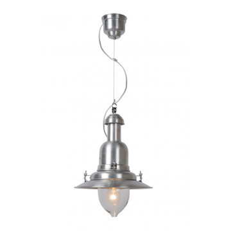 Подвесной светильник Lucide Osta 55306/30/12, 1xE27x60W, серебро, прозрачный, металл, металл со стеклом
