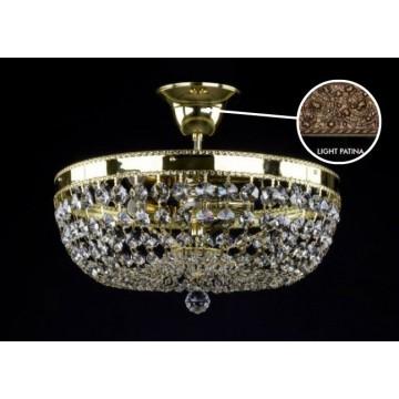 Потолочная люстра Artglass GERTA DIA 350 LIGHT PATINA SP, 3xE14x40W, кристаллы SPECTRA Swarovski