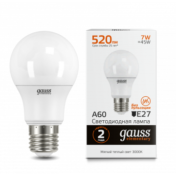 Светодиодная лампа Gauss Elementary 23217A груша E27 7W, 2700K (теплый) CRI>80 150-265V, гарантия 2 года