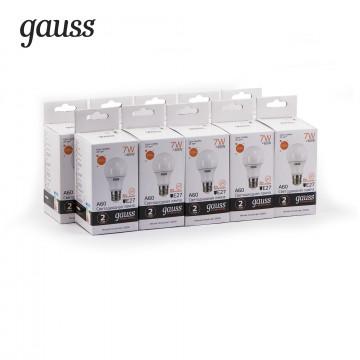 Светодиодная лампа Gauss Elementary 23217A груша E27 7W, 2700K (теплый) CRI>80 150-265V, гарантия 2 года - миниатюра 2