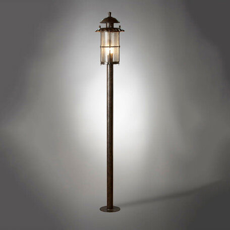 Уличный фонарь L'Arte Luce Genova L70785.07, IP43, 1xE27x100W, коричневый, прозрачный, металл, металл со стеклом/пластиком