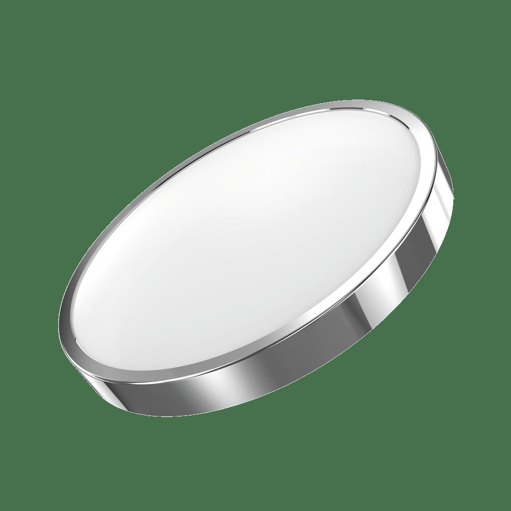 Потолочный светодиодный светильник Gauss Фрисби с декоративным съемным кольцом 941422218, LED 18W 4100K 1300lm CRI>90, хром, металл со стеклом/пластиком - фото 1
