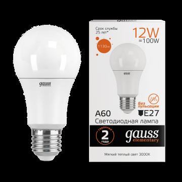 Светодиодная лампа Gauss Elementary 23212 груша E27 12W, 3000K (теплый) CRI>80 150-265V, гарантия 2 года