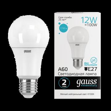 Светодиодная лампа Gauss Elementary 23222 груша E27 12W, 4100K (холодный) CRI>80 150-265V, гарантия 2 года