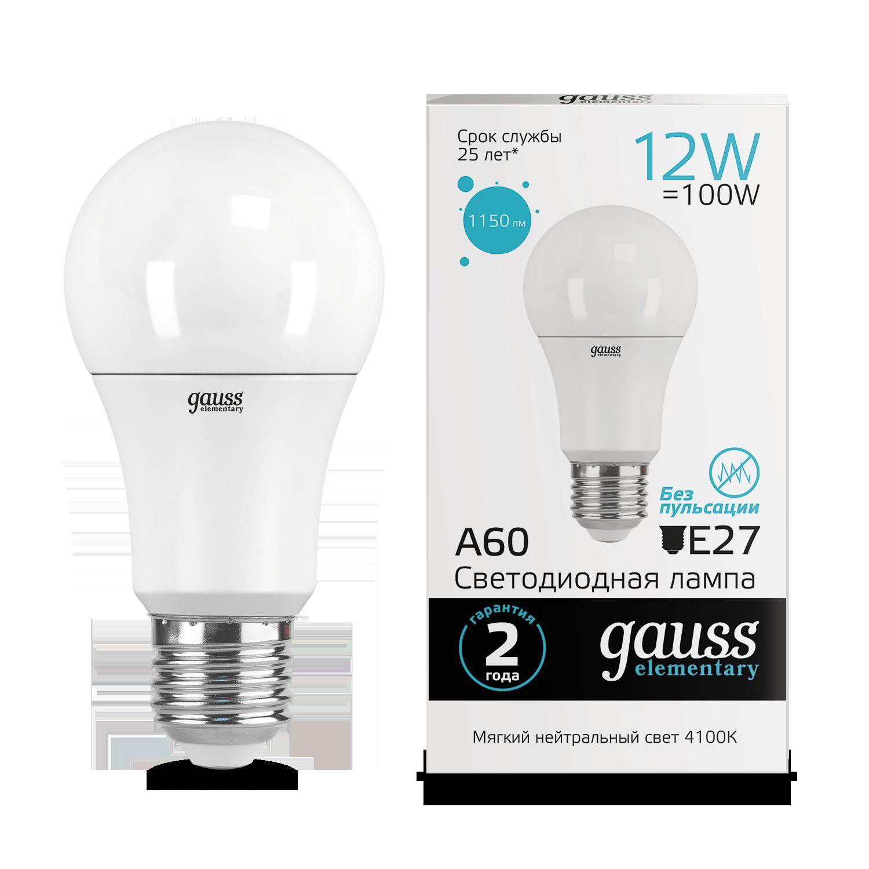 Светодиодная лампа Gauss Elementary 23222 груша E27 12W, 4100K (холодный) CRI>80 150-265V, гарантия 2 года - фото 1