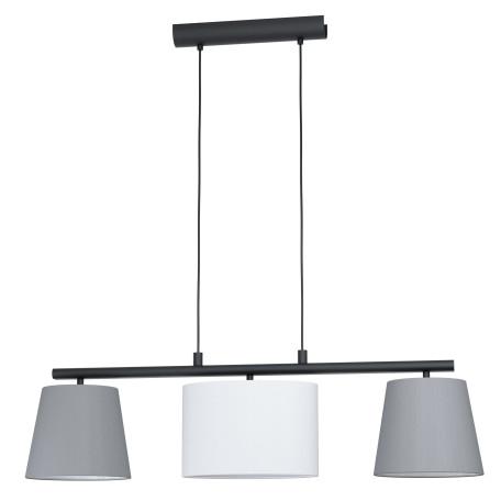 Подвесной светильник Eglo Almeida 1 98587, 3xE14x25W, черный, серый, металл, текстиль