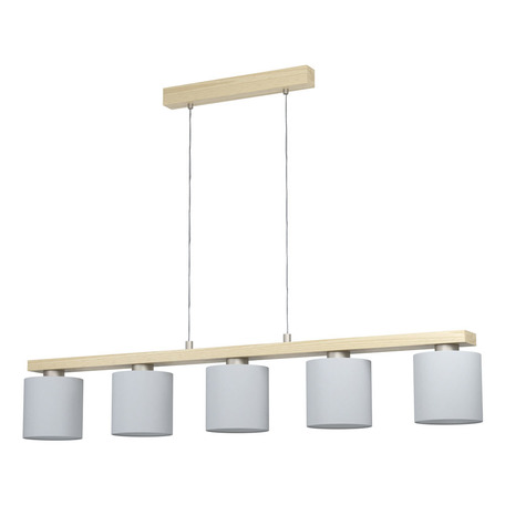Подвесной светильник Eglo Castralvo 98591, 5xE27x28W, коричневый, белый, дерево, текстиль