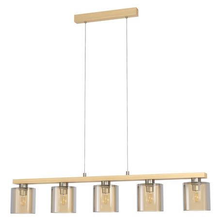 Подвесной светильник Eglo Castralvo 98592, 5xE27x28W, коричневый, янтарь, дерево, стекло
