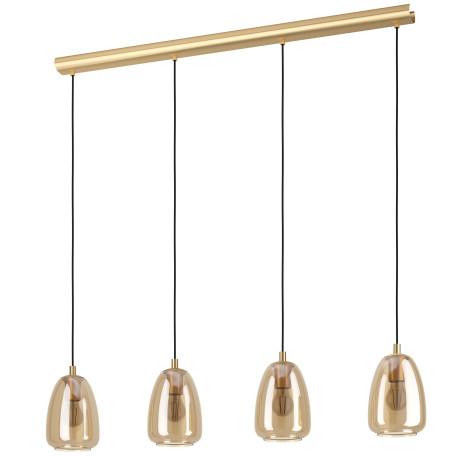 Подвесной светильник Eglo Alobrase 98649, 4xE27x40W, золото, янтарь, металл, стекло