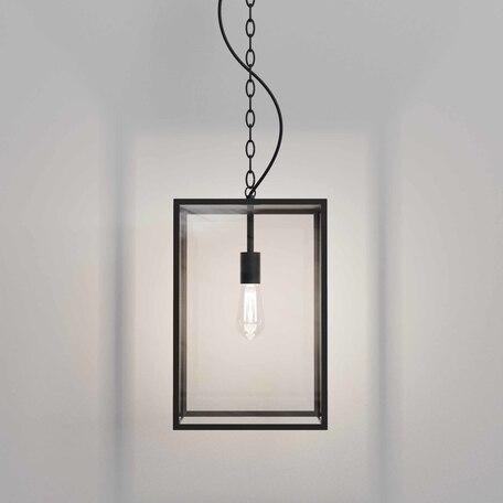 Подвесной светильник Astro Homefield 1095033, IP23, 1xE27x12W, черный, прозрачный, металл, металл со стеклом