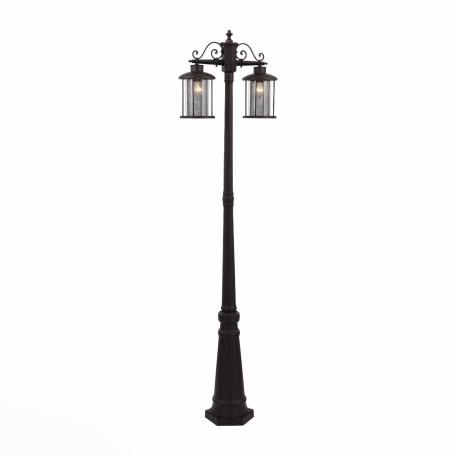 Уличный фонарь ST Luce Lastero SL080.425.02, IP54, 2xE27x100W, коричневый, прозрачный, металл, ковка, металл со стеклом